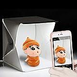 Zecti Mini Studio Photo avec LED Tente cube pliable 24x22x24cm Studio Photo avec 2 Fonds(Blanc,Noir)