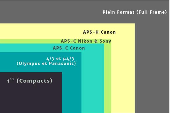 Schéma représentant les différents capteurs photographiques