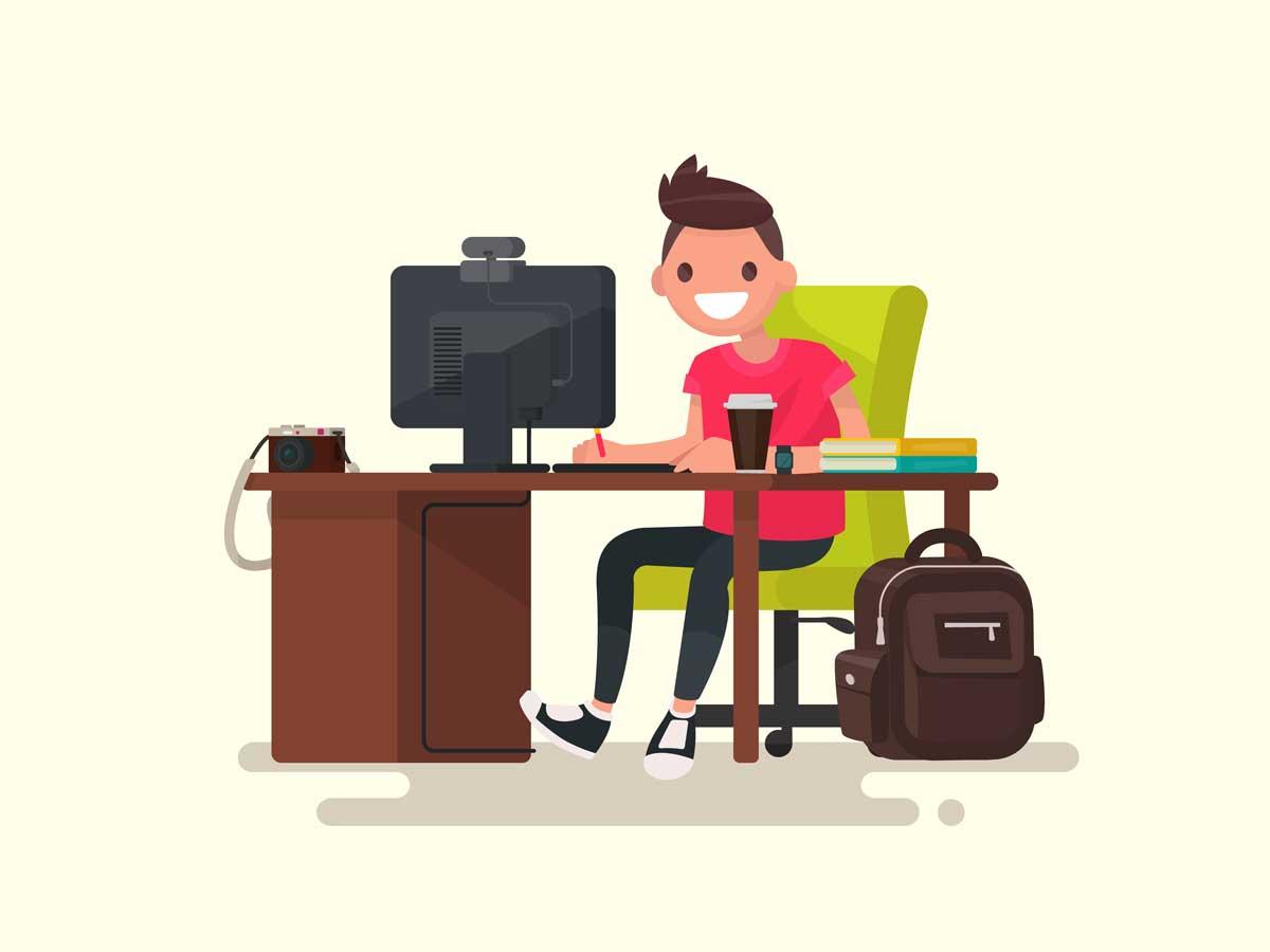 homme utilisant une webcam devant son ordinateur