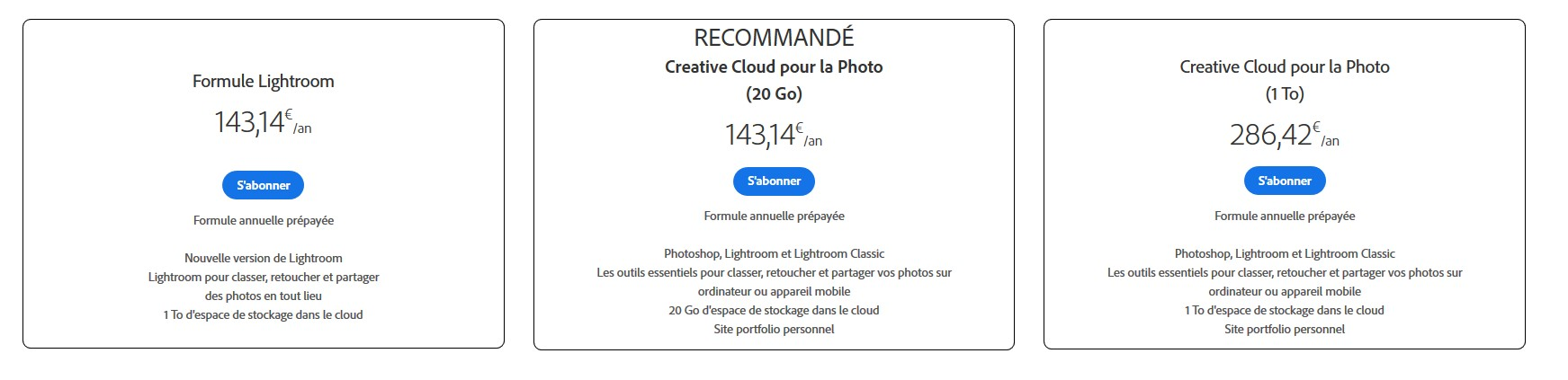 Prix de Lightroom